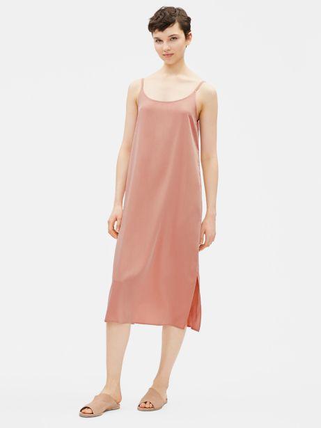 a0dc7bbf67ad Sandwashed Tencel Slip Dress Toffeecream | EILEEN FISHER