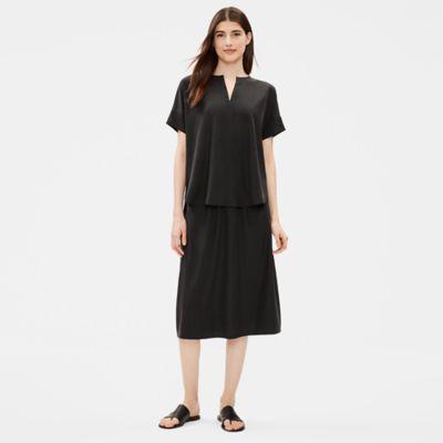 Sandwashed Tencel A-Line Skirt