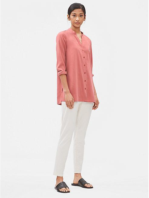 Sandwashed Tencel Stand Collar Shirt