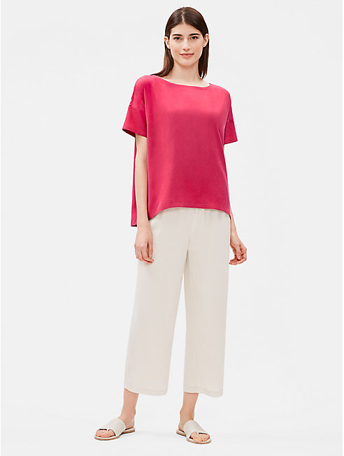 Sandwashed Tencel Bateau Neck Box-Top