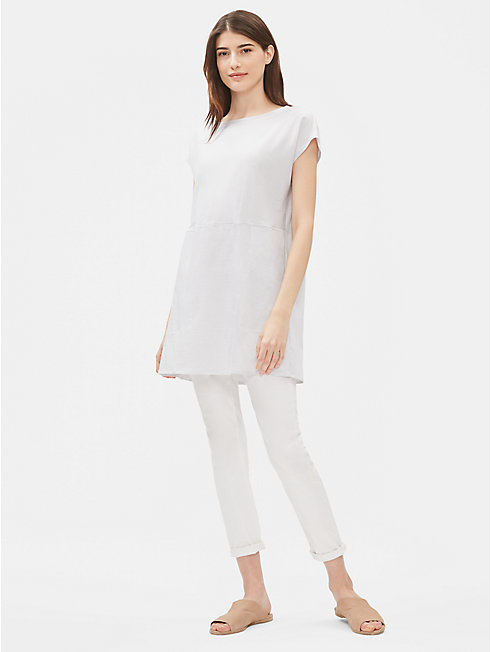 Organic Cotton Stripe Bateau Neck Tunic