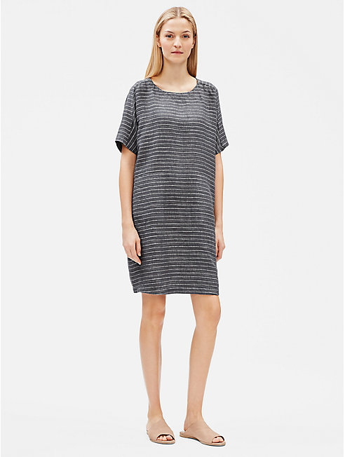 Organic Linen Délavé Pinstripe Shift Dress