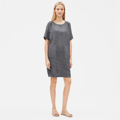 Organic Linen Délavé Pinstripe Shift Dress