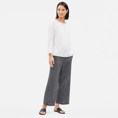 Organic Linen Délavé Pinstripe Wide Pant