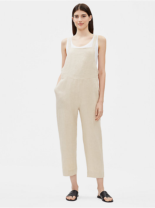 8b87c9e71d42 QUICK VIEW. UNDYED NATURAL  BLACK. Organic Linen Cropped Jumpsuit