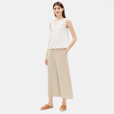 Organic Linen Wide-Leg Cropped Pant