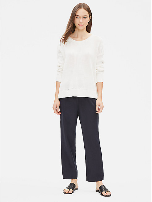 Organic Linen Straight Cropped Pant