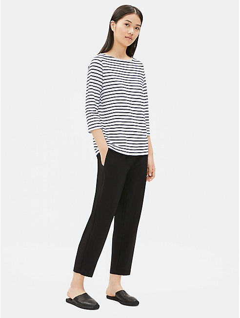 Organic Linen Jersey Striped Bateau Neck Top