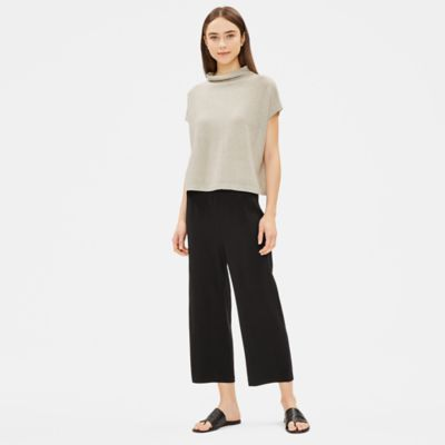 Recycled Cotton Shine Funnel Neck Top