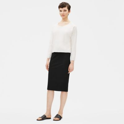 Washable Stretch Crepe Pencil Skirt