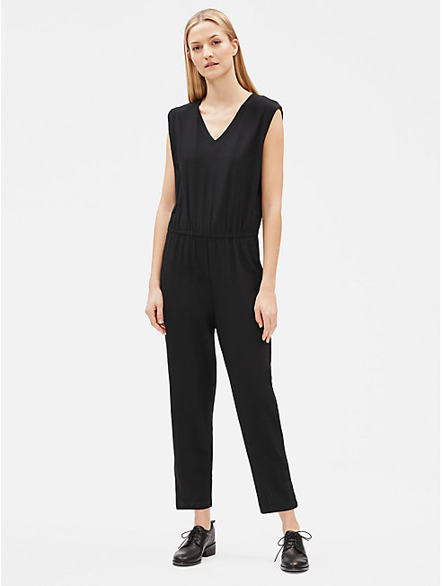 Lightweight Washable Stretch Crepe V-Neck Jumpsuit