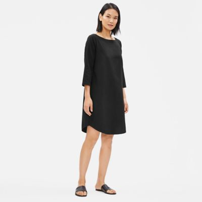 Organic Cotton Twill 3/4-Sleeve Dress