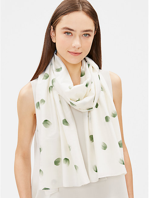 Hand-Painted Organic Cotton Scarf