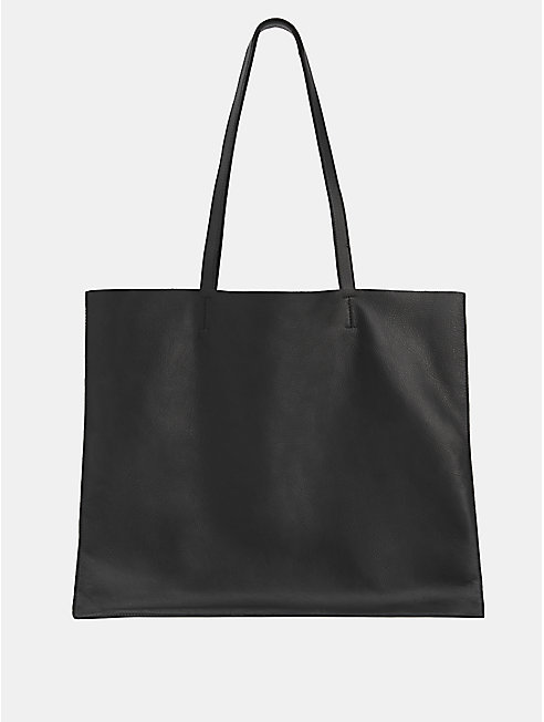 Italian Leather Flat Tote