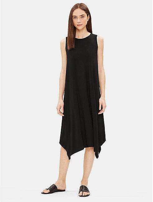 Lightweight Viscose Jersey Pointed Hem Dress