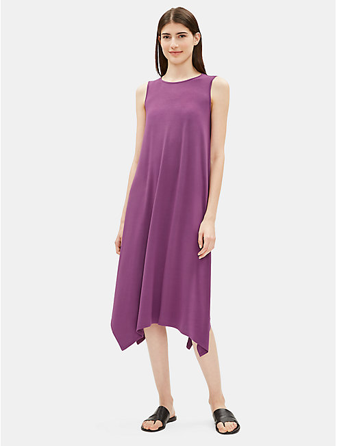 Lightweight Viscose Jersey Pointed Hem Dress