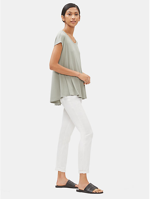 Lightweight Viscose Jersey Scoop Neck Box-Top