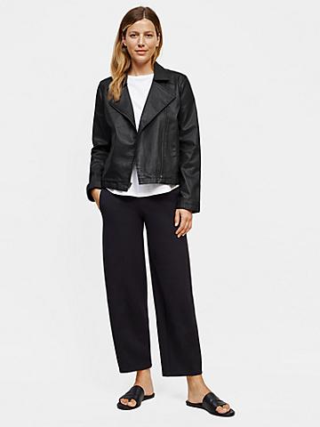 Organic Cotton Waxed Stretch Denim Moto Jacket