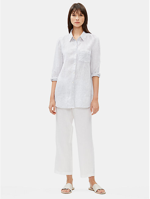 ffea42c3 Organic Handkerchief Linen Striped Shirt | EILEEN FISHER