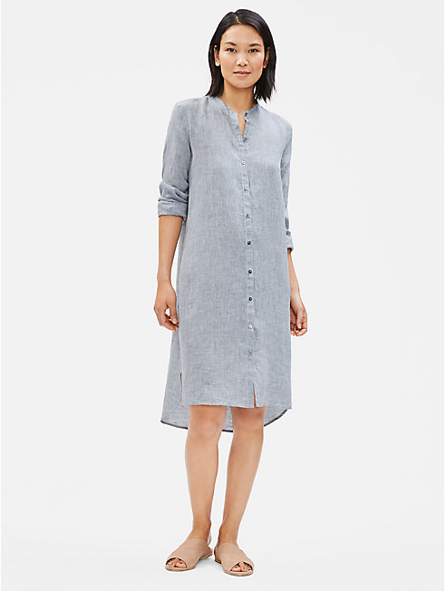 Yarn-Dyed Organic Handkerchief Linen Shirt Dress