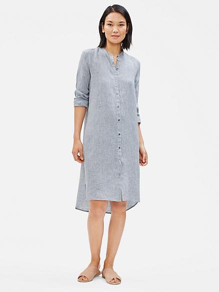 Yarn-Dyed Organic Handkerchief Linen Shirt Dress   EILEEN FISHER