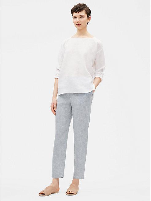 Yarn-Dyed Organic Handkerchief Linen Slouchy Pant