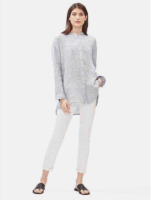 Yarn-Dyed Organic Handkerchief Linen Mandarin Collar Shirt