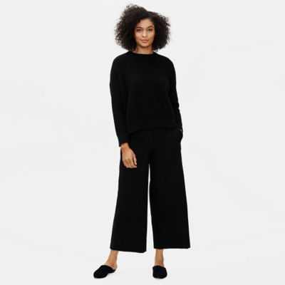 Soft Wool Flannel Wide-Leg Ankle Pant
