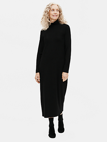 Viscose Jersey Scrunch Neck Dress