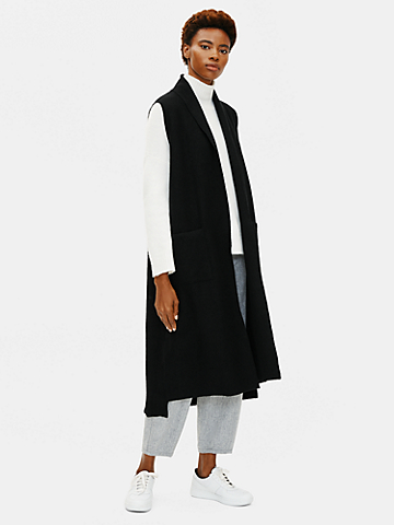 Lightweight Boiled Wool Long Vest in Responsible Wool