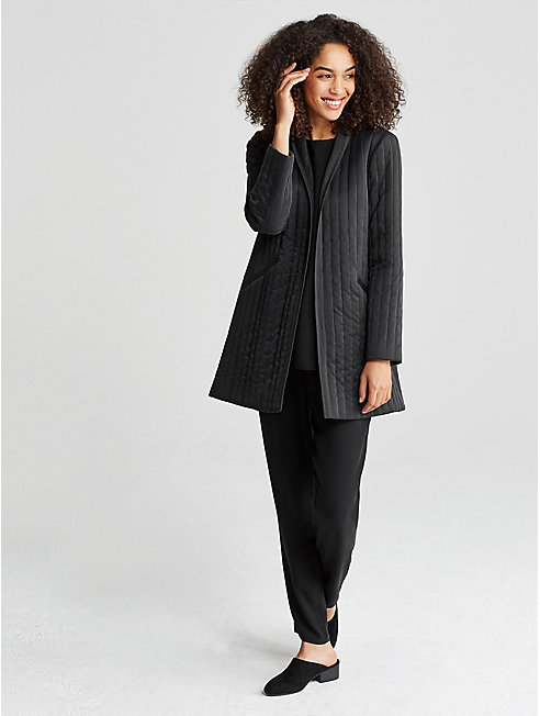 Sandwashed Silk Charmeuse Quilted Jacket