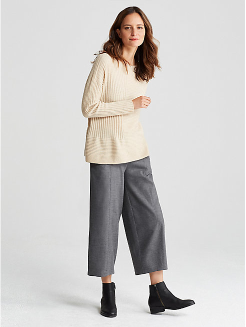 Heathered Wool Cropped Lantern Pant