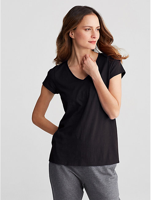 Organic Cotton Slub V-Neck Top