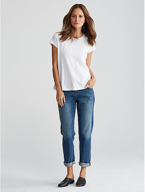 Organic Cotton Slub Jewel Neck Tee
