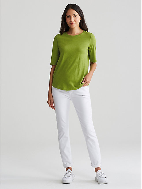 Organic Cotton Jersey Slub Elbow-Sleeve Top