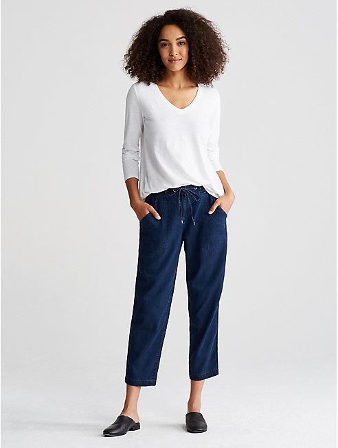 Organic Cotton Jersey Slub V-Neck Top