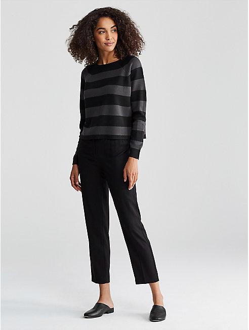 Silk Organic Cotton Stripe Cropped Box-Top