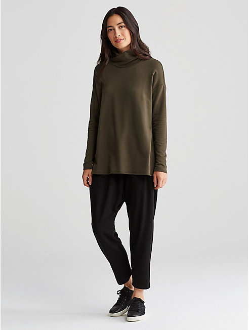 Tencel Fleece Turtleneck Top