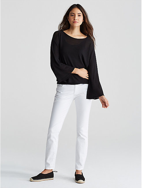 Seamless Tencel Knit Bell-Sleeve Box-Top