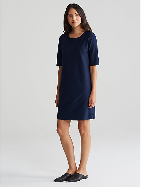 Washable Stretch Crepe Side-Zip Layering Dress