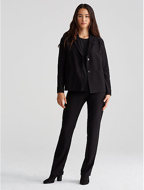 Washable Stretch Crepe Notch Collar Jacket