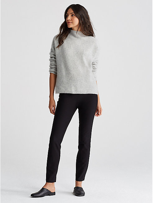 Washable Stretch Crepe Slim Pant with Ankle Zip