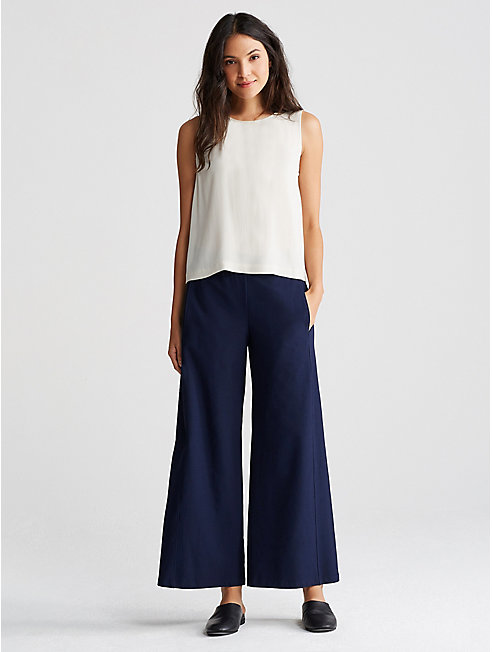 Washable Stretch Crepe Wide-Leg Pant