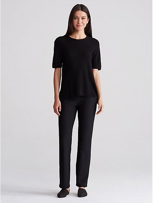 Washable Stretch Crepe Straight Pant