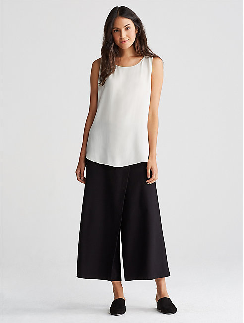 Washable Stretch Crepe Cropped Wrap Pant