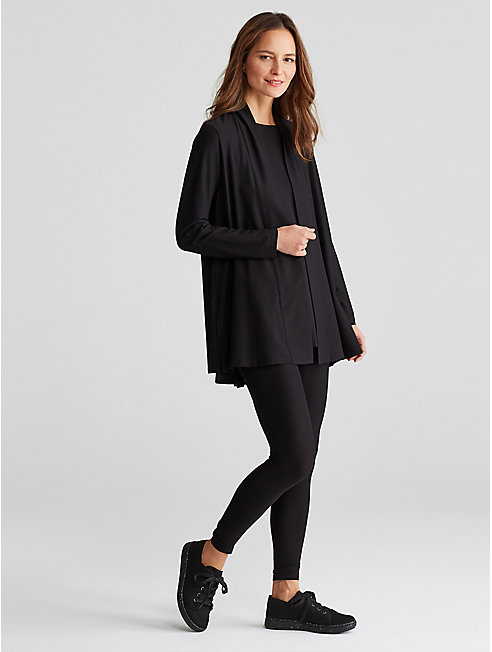 Lightweight Washable Stretch Crepe Long Cardigan
