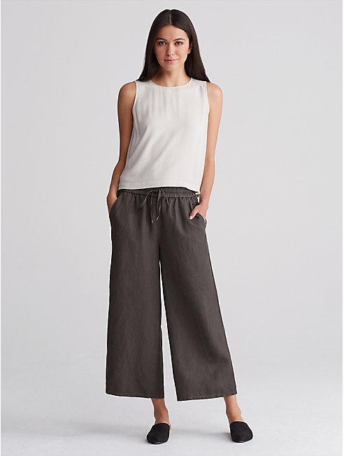 Tencel Linen Wide Cropped Pant