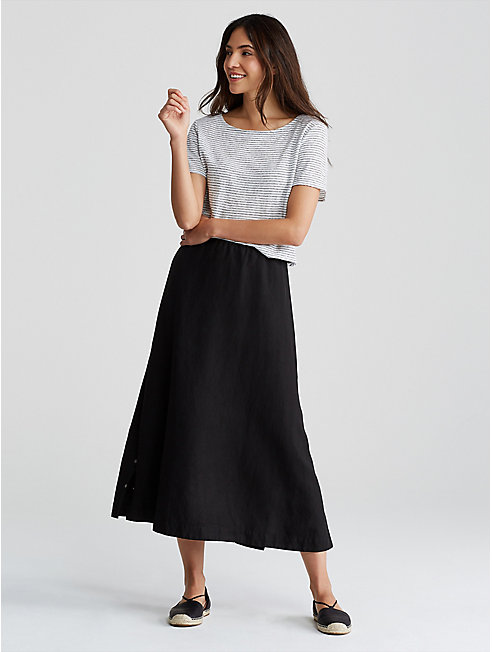 Tencel Linen Side-Snap A-Line Skirt
