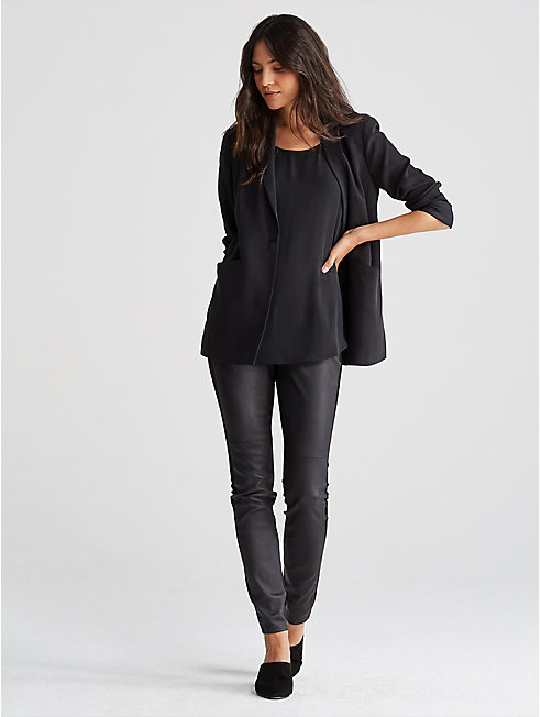 Tencel Ponte Leather-Blocked Leggings