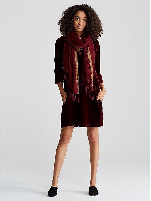 Tasseled Shimmer Wool Scarf